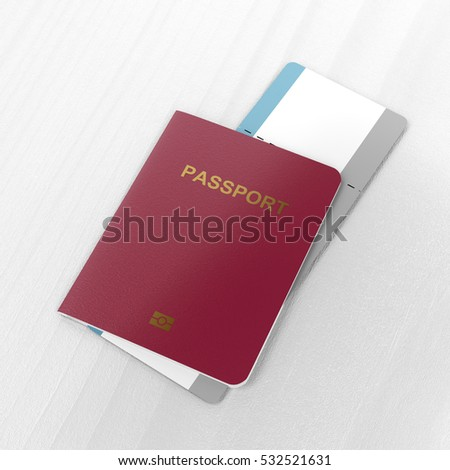 Biometric passport and blank airline boarding pass on the table, 3D illustration