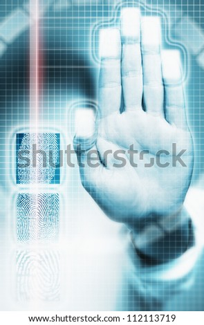 Biometric scanning of fingerprints in security system - stock photo