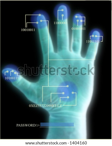 Biometric Security Scan of Hand - stock photo
