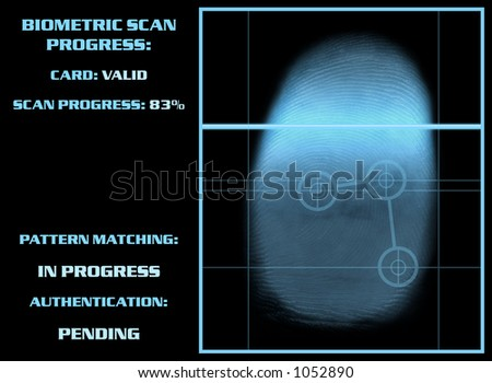 Biometric Security Thumb Scanner - stock photo
