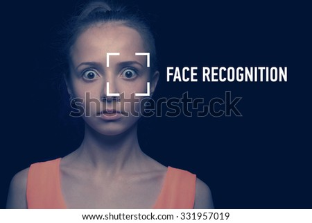 Biometric verification - young woman face recognition