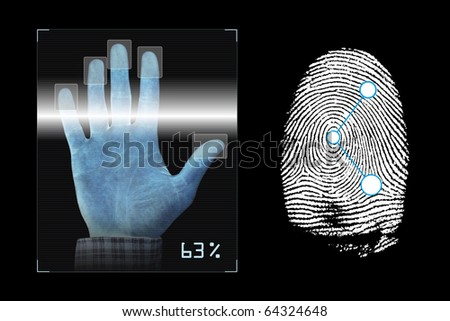 Biometrics hand scanning with fingerprints analyzing - stock photo