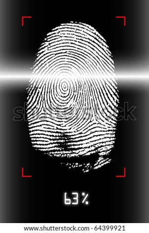 Biometrics scanning of human fingerprint - stock photo