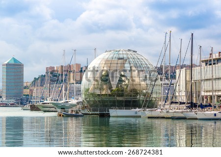 Biosphere (Glass sphere) diameter is about 20 meters in a summer day in Genoa, Italy - stock photo