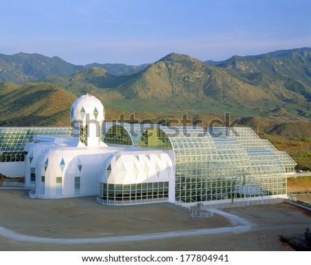 Biosphere 2, Library & Living Quarters, Arizona - stock photo