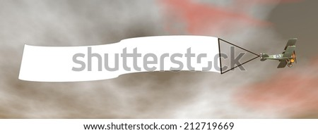 Biplane aircraft pulling advertisement banner in sunset sky - 3D render - stock photo