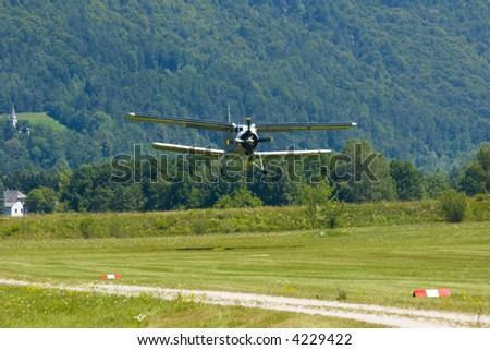 Biplane An-2 (Antonov) in the airshow - stock photo