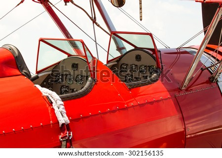 Biplane Cockpit - stock photo