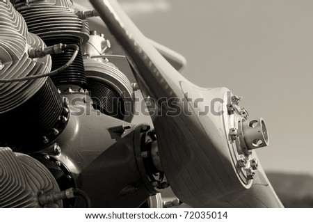 biplane engine - stock photo