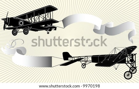 Biplane pulling a blank banner. Airplane with ribbon, illustration. - stock photo