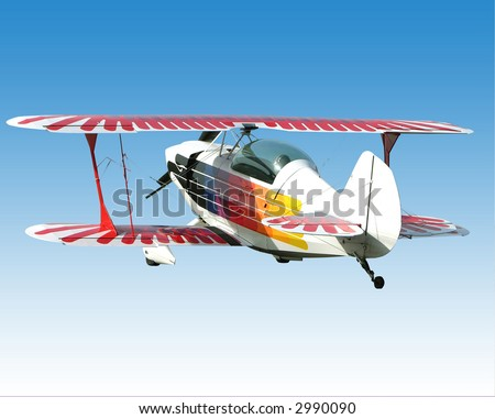 Biplane ready for your banner and advertisement - stock photo