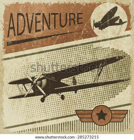 biplane retro poster - stock photo
