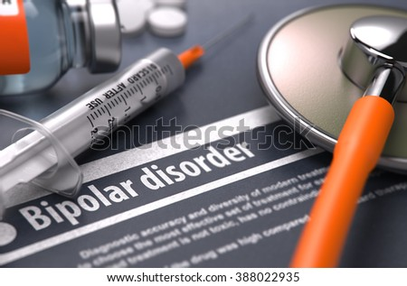 Bipolar disorder - Printed Diagnosis with Blurred Text on Grey Background and Medical Composition - Stethoscope, Pills and Syringe. Medical Concept. 3D Render. - stock photo