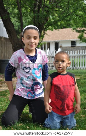 Biracial African American Children Posing for Picture