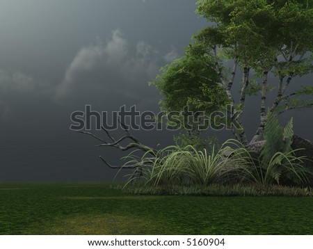 birch and stormy clouds - 3d illustration