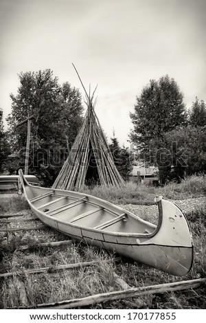 Birch Bark Canoe and Teepee - Northwest River, Labrador - stock photo