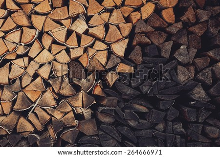 Birch firewood. woodpile. vintage texture background. - stock photo