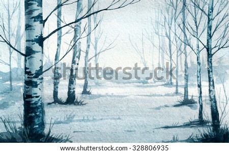 Birch forest. Watercolor illustration. - stock photo