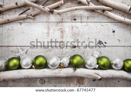 Birch Frame with Christmas Ornaments - stock photo