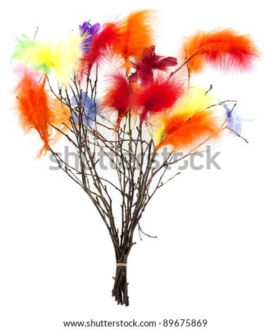 Birch twigs decorated for Scandinavian carnival days - stock photo