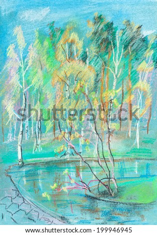 Birches, pines and willows near pond