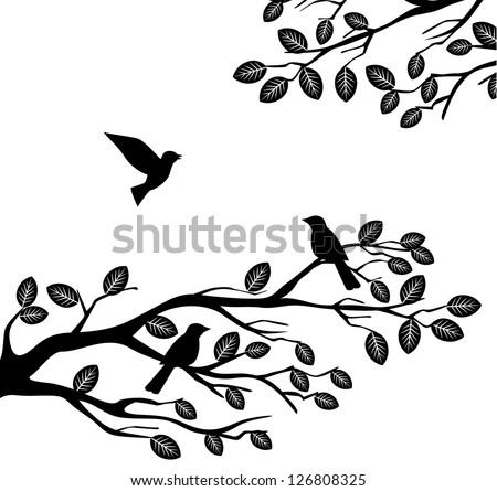 Bird and tree silhouette - stock photo