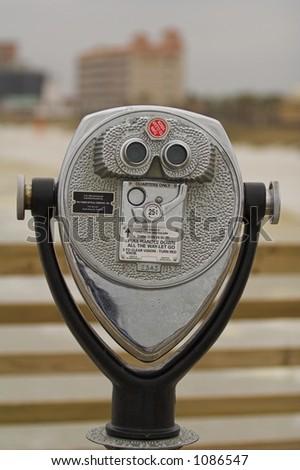 Bird binoculars on a pier in Jacksonville, Florida - stock photo