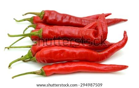 bird chili isolated on white background - stock photo