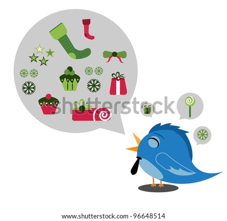bird Christmas - Vector Version Is Also Available - stock photo