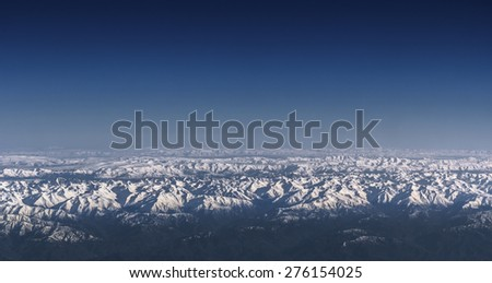 Bird eye Scenic view Blue Sky and Mountain Background - stock photo
