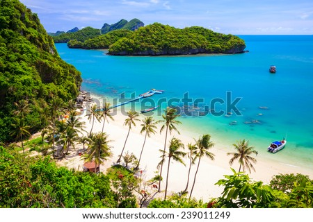 Bird eye view of Angthong national marine park, koh Samui, Suratthani, Thailand - stock photo