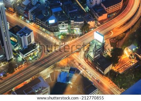 Bird eye view of cross road Highway in Thailand - stock photo