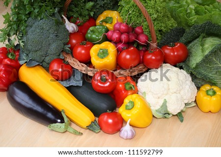 Bird eye view of healthy colorful vegetables - stock photo