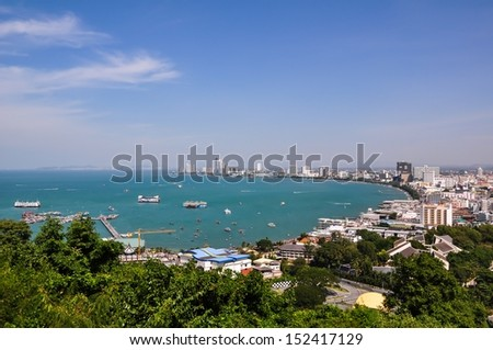 Bird eye view of Pattaya city, Thailand - stock photo