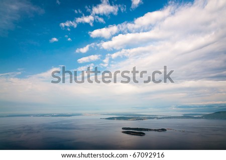 Bird-eye view of San Juan islands in Puget Sound - stock photo
