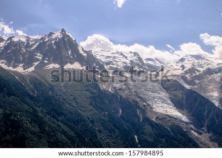 Bird eye view on Mont Blanc and  glacier (made from helicopter)