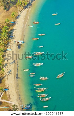 Bird eye view with fishing thai boats, The Beauiful Sea scape, Thailand
