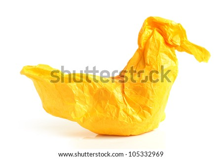 Bird from crumpled paper on a white background - stock photo