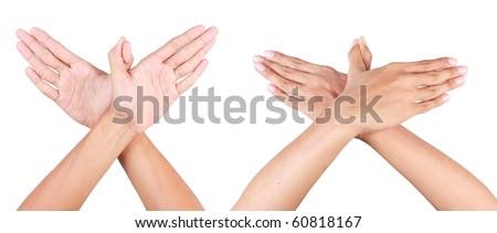 bird hand gesture - stock photo