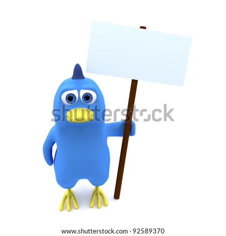 Bird holding an empty banner. May be protesting or warning. - stock photo