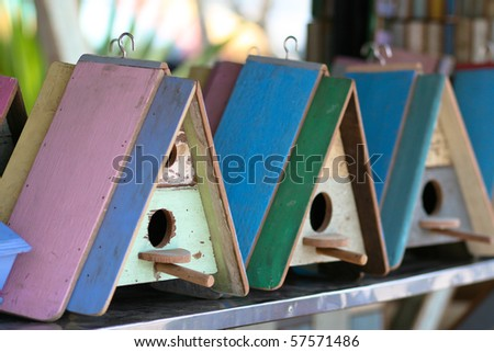 Bird house family. - stock photo