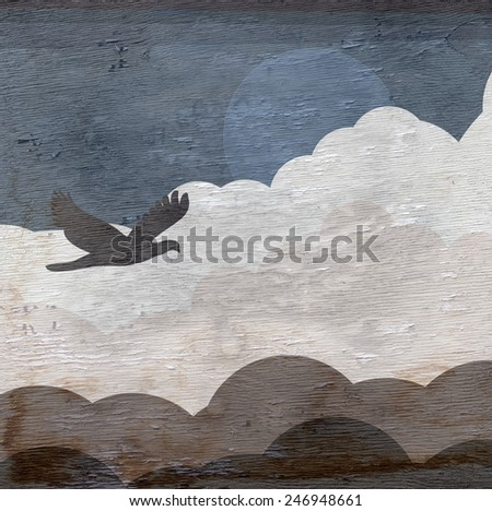 bird in sky design with wood grain texture - stock photo