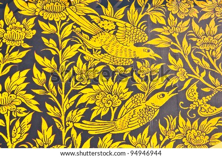 Bird In the legend painting on the wall. This is typical of Thai traditional art. And No any trademark or restrict matter in this photo. - stock photo