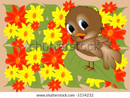 bird in yellow and red  flowers illustration
