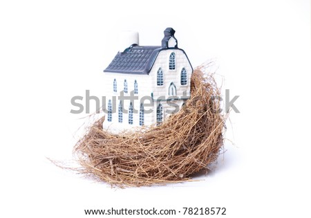 Bird nest and house,real estate economy concepts, isolated on white - stock photo