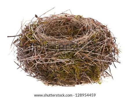 Bird nest empty isolated on white - stock photo