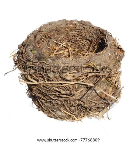 Bird nest, isolated on white - stock photo