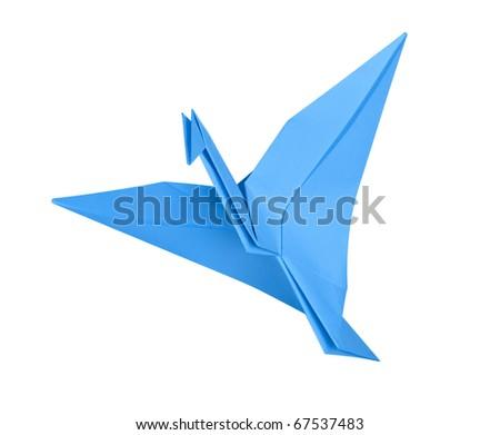 Bird of happiness. Crane. Origami - stock photo