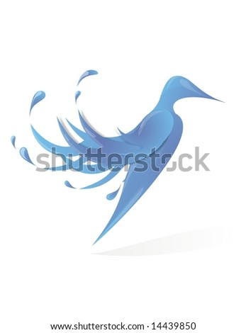 Bird of water in a white background. Illustration. - stock photo