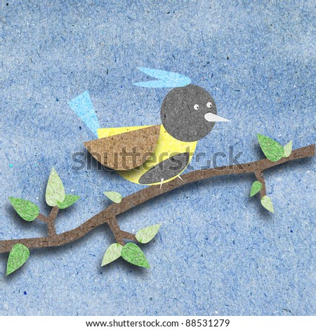 Bird recycle paper craft for background - stock photo